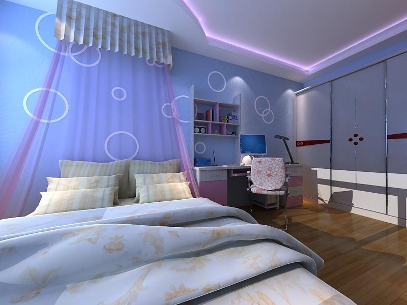 兰舍硅藻泥卧室蓝色欧式效果图